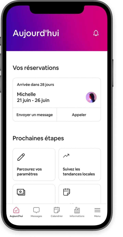 Outils de gestion des annonces et des réservations à venir dans l'application Airbnb.