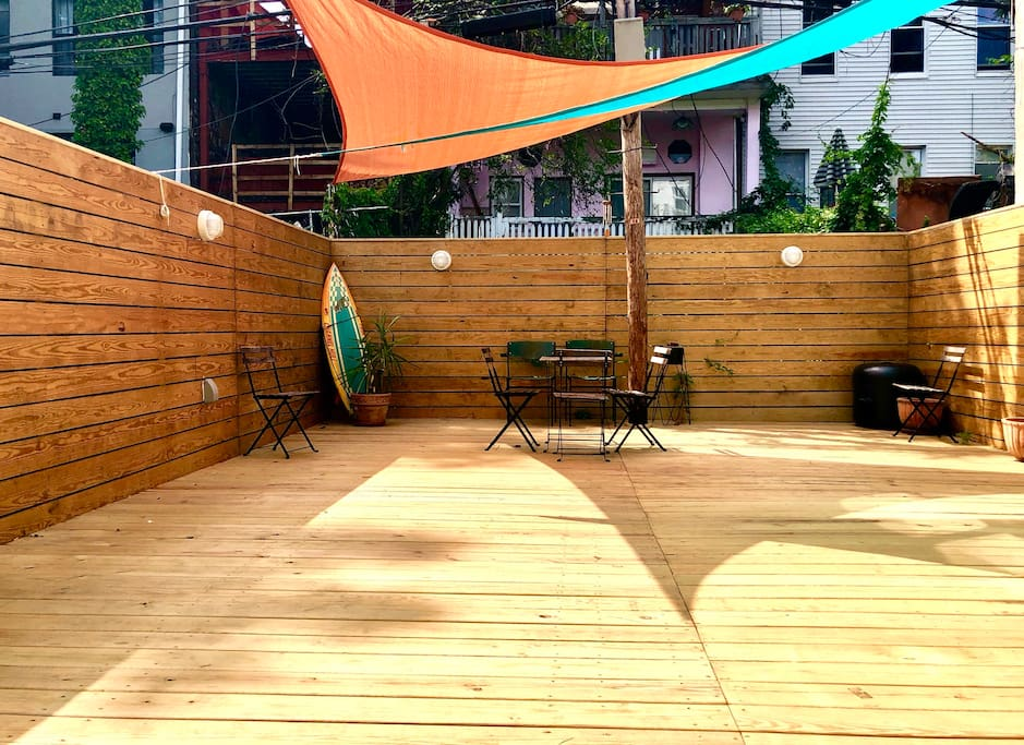 Back yard deck, with rustic urban Invite a friend or 2 to sit outside and take in our private sanctuary.