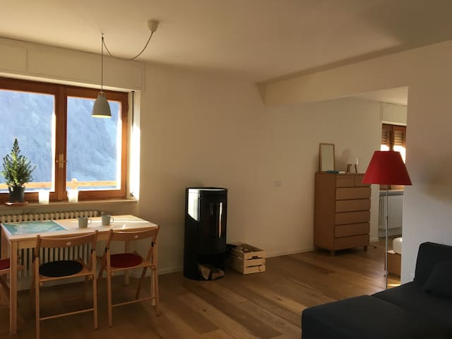 Bright apartment with garden and wood stove