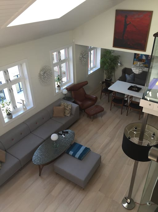 Living room from top of stairs