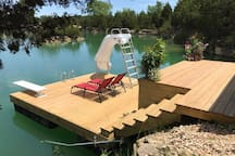 Floating dock with water slide/diving board
