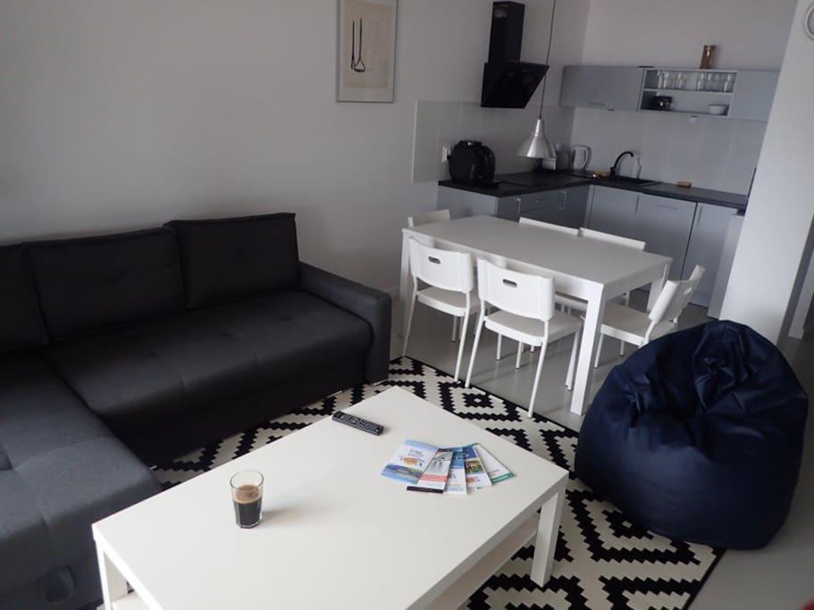 Duży salon z wygodną sofą, a także w pełni wyposażoną kuchnią