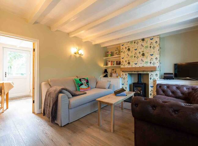 The lounge with double sofa bed and gas fire