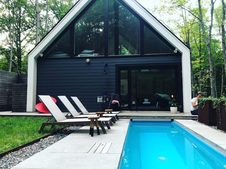 Modern Upstate cabin + hot pool near Rhinebeck NY.
