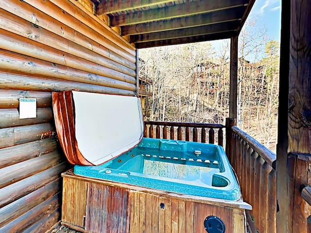 Step out to the balcony to soak in the private hot tub.