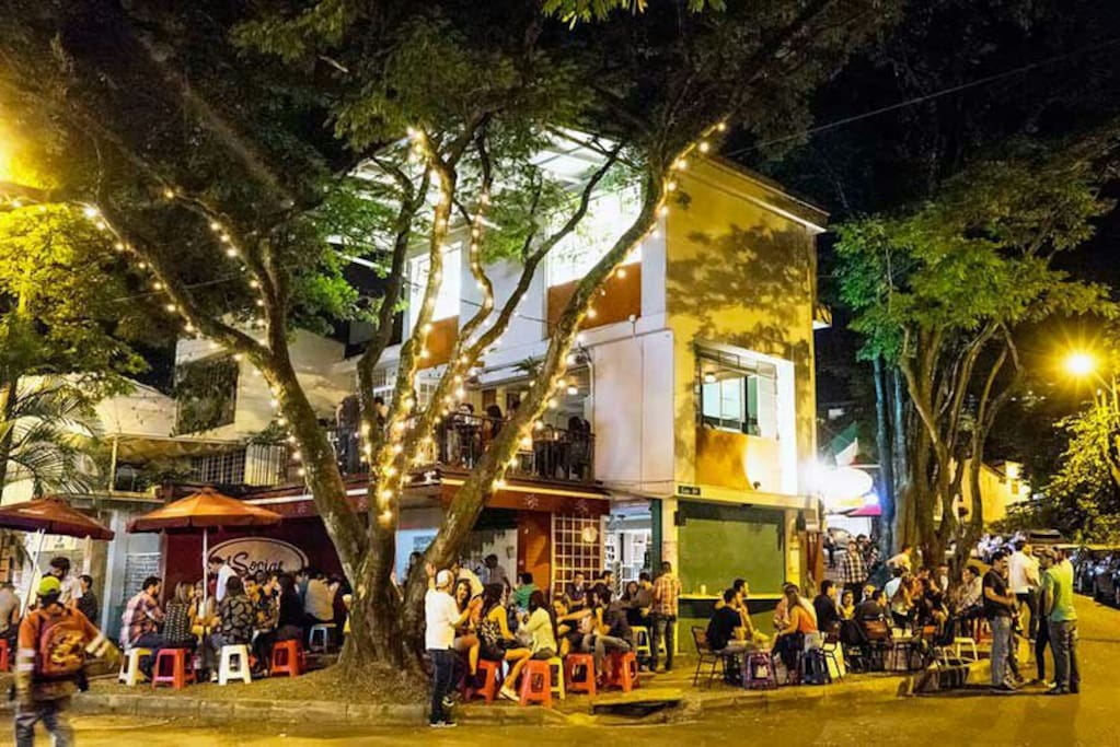 """""""El social""""down the street about 400 mts away,  great for grabbing a beer and enjoy the local life, down the street."""