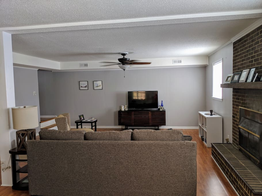Living room area with television