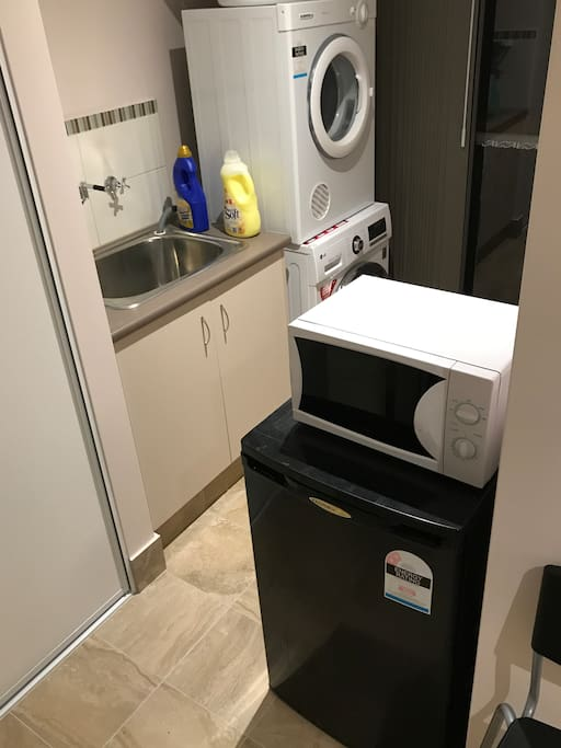 fridge, microwave, washing machine and dryer