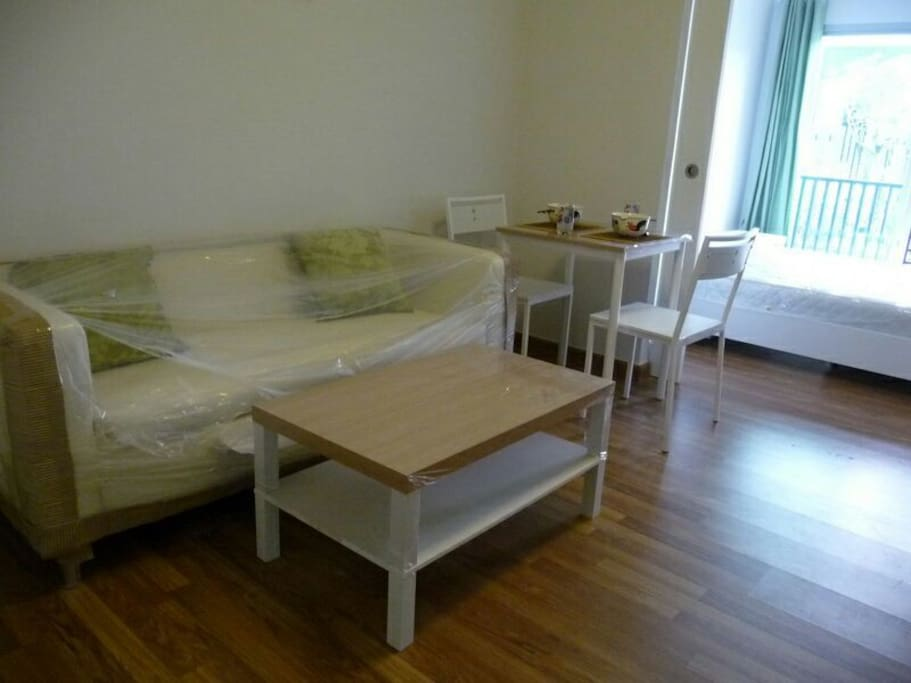Good space for a couple, with sofa and dinning table