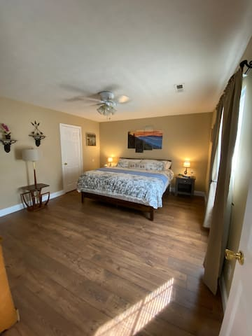 The Hibernation Station, is the primary room with an en-suite bathroom and walk in closet.