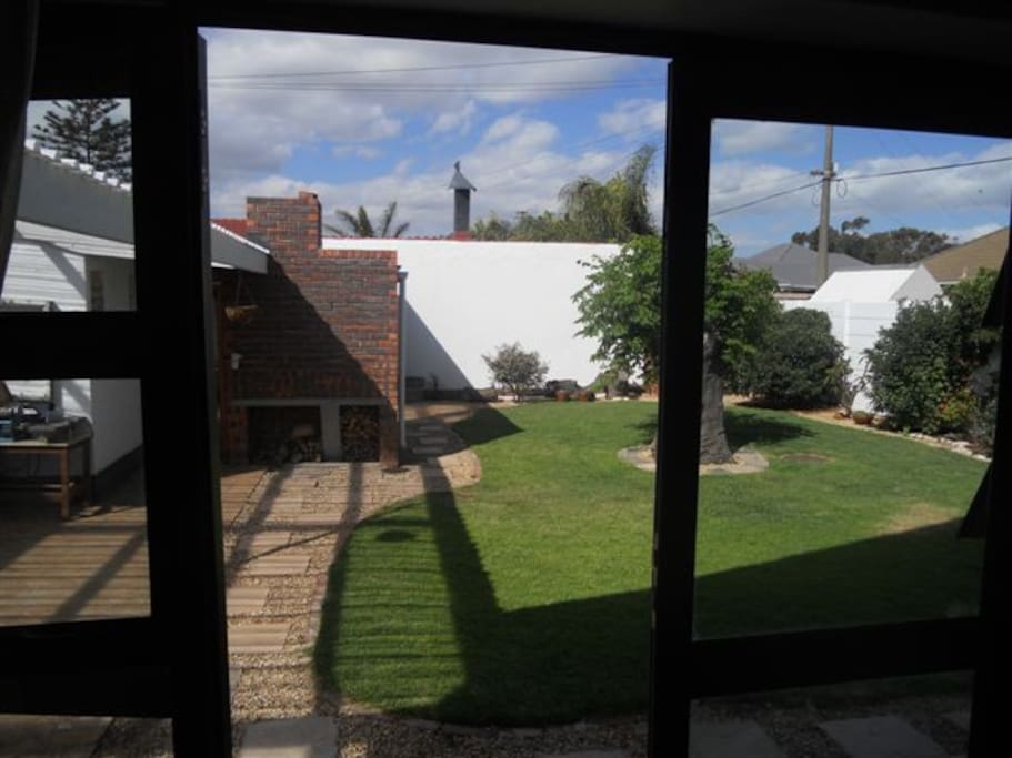 View from lounge into sunny garden