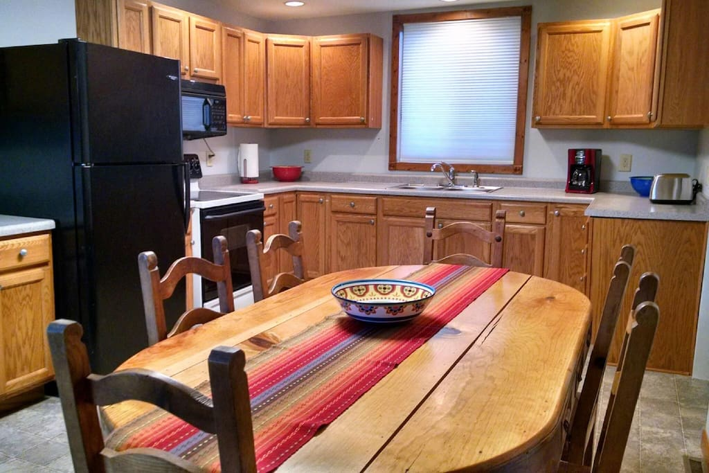 Kitchen with seating for six.