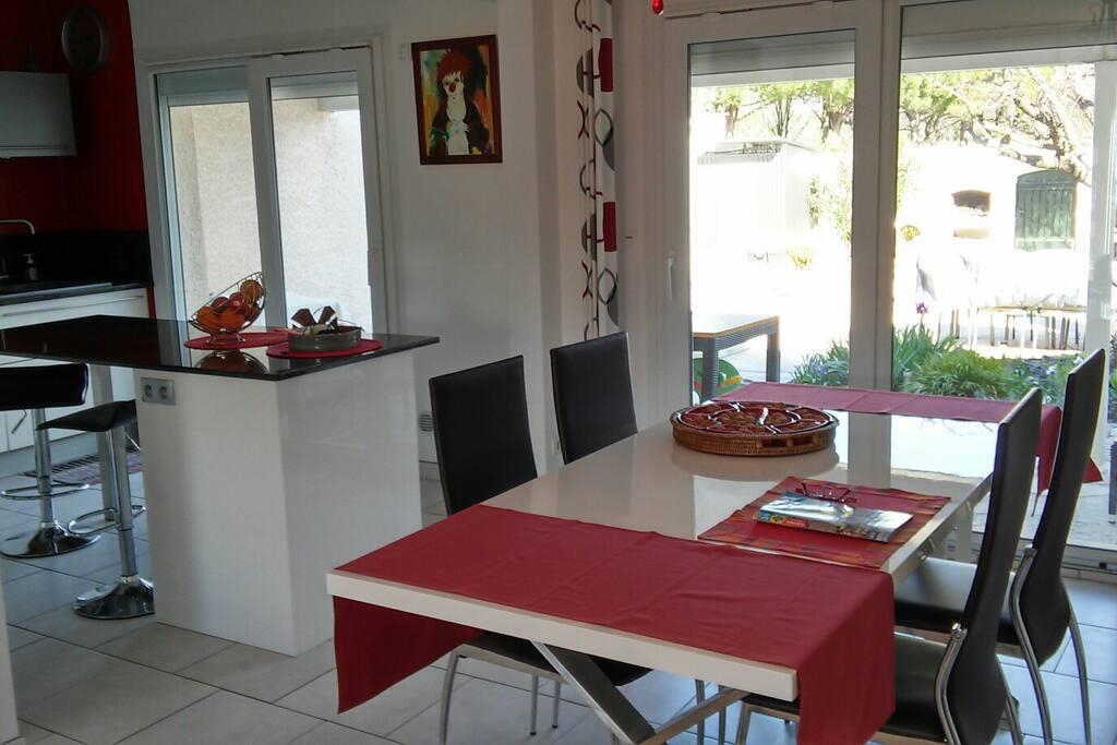 SAM et cuisine ouverte donnant sur terrasse
