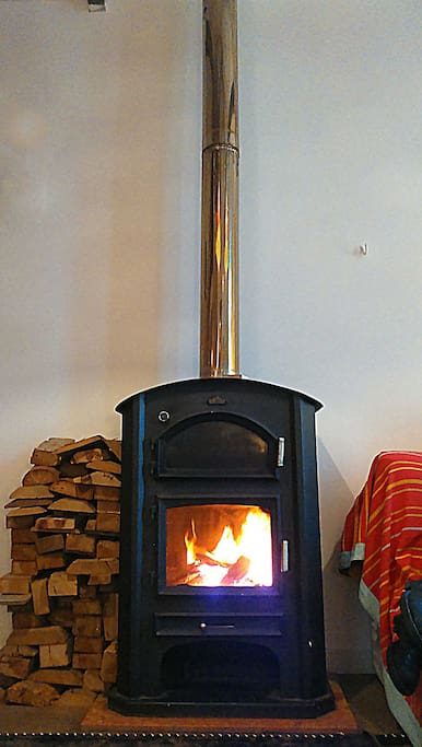 . Wood burning stove with oven (great for pizzas and bread) for those cold winter nights :)