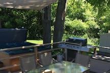 Sun shade over patio set