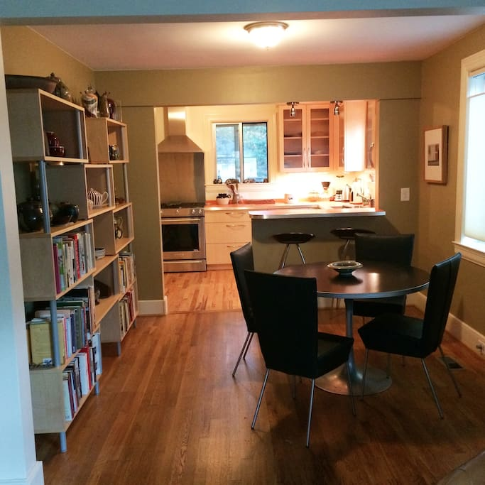 Open layout for kitchen, dining and living rooms