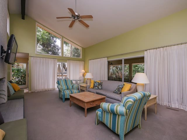 Upstairs Living Room with Screen Porch Access at 7 Laughing Gull