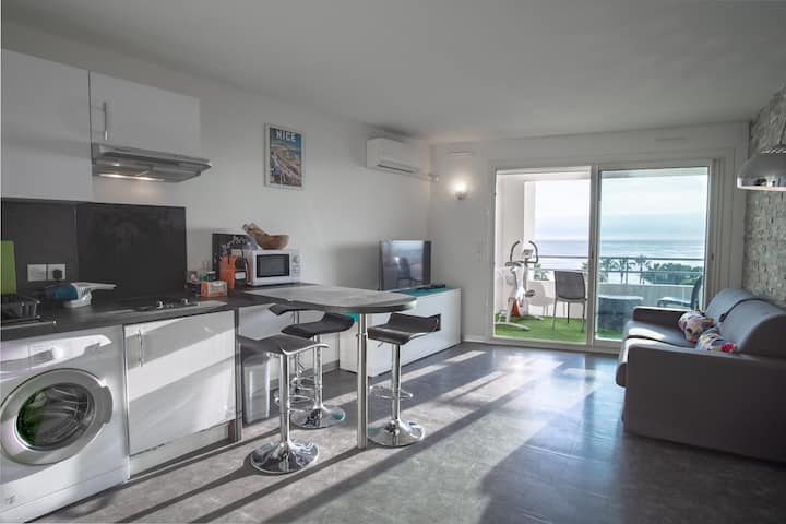 Nice Studio privatized sea view (price for 2)