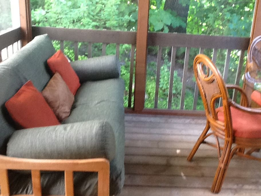 Screened in porch with cozy futon