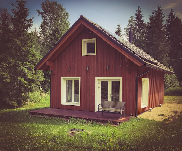 Cozy sauna house next to the forest.