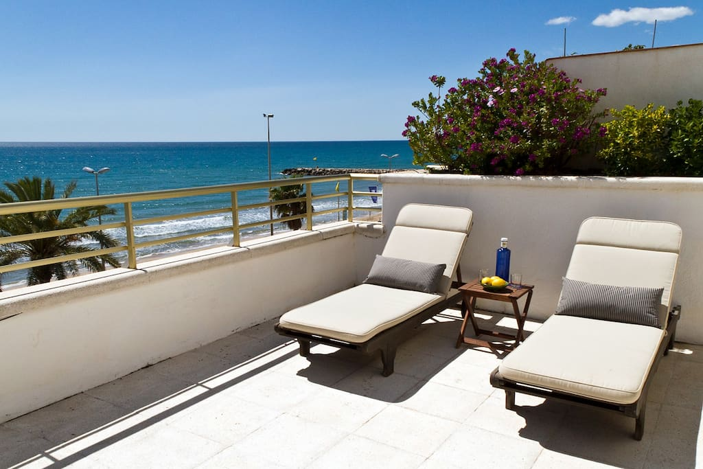 Sea View Terrace with two (of four) sun loungers
