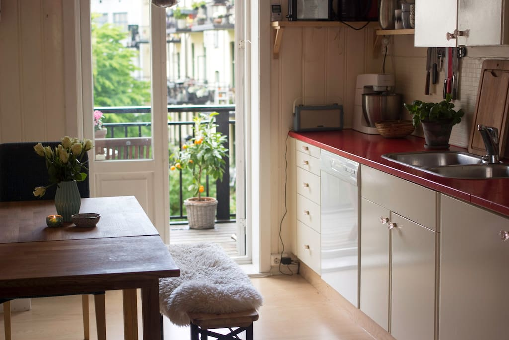 Cozy retro kitchen with balcony.