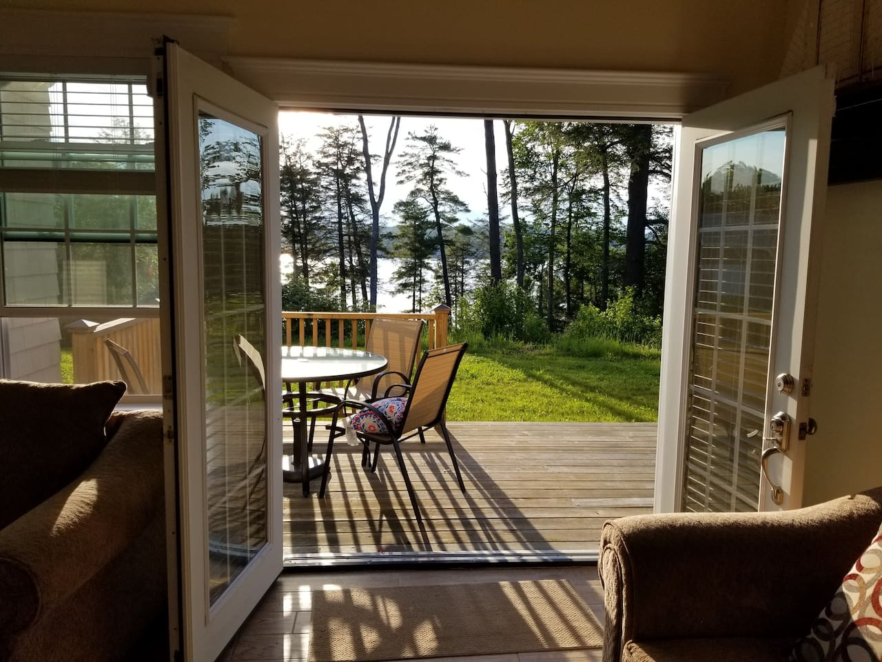View from the dining table/kitchen. Open the french doors to get fresh air and an amazing view while cooking lobsters!