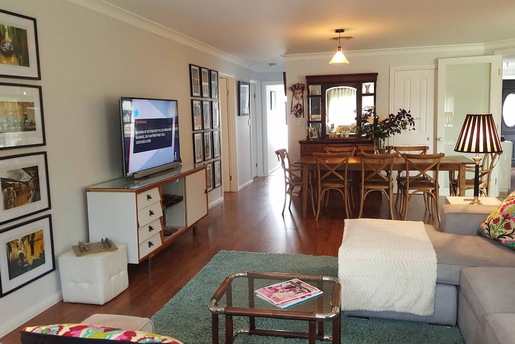 Central living area with tv, foxtel, dvd, cds,