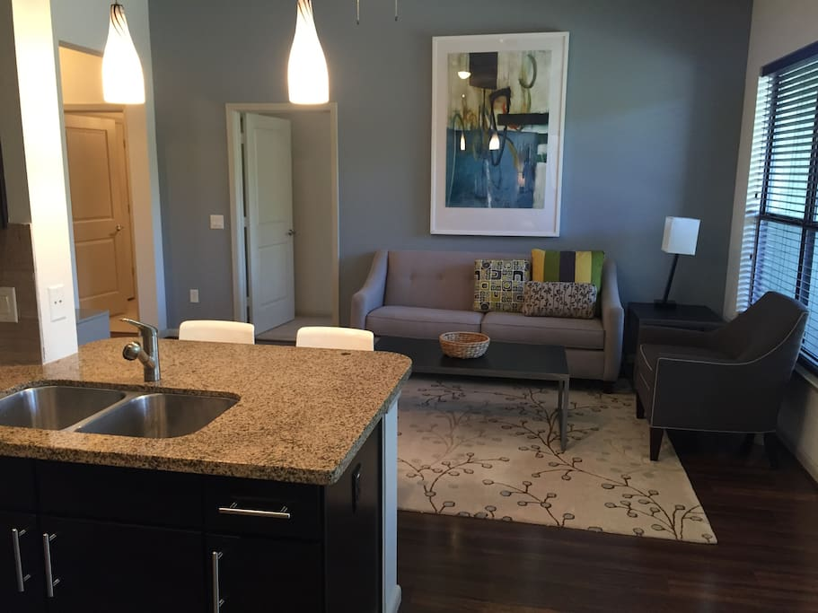 spacious and comfortable living area that is fully furnished and outfitted with cable tv and wifi