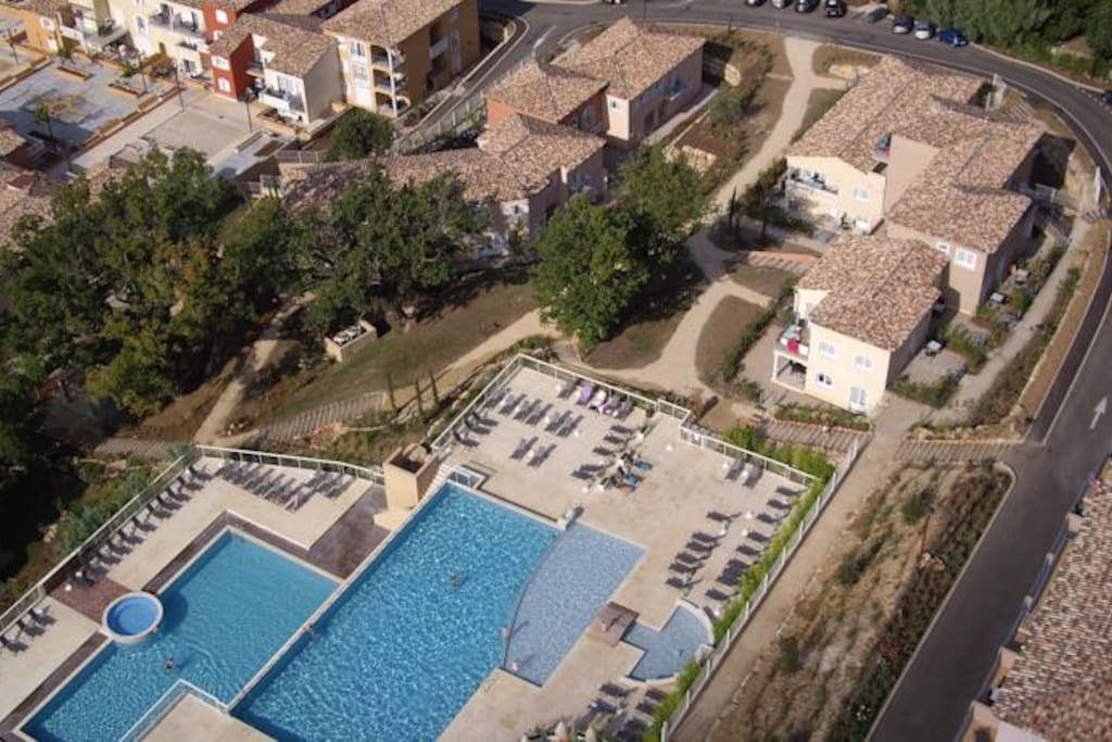 overhead view of the 2 outdoor pools