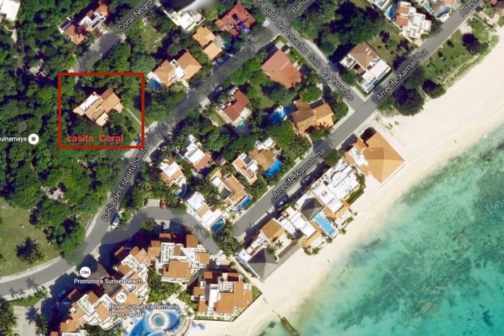 Aerial view of casita Coral in Playacar fase 1