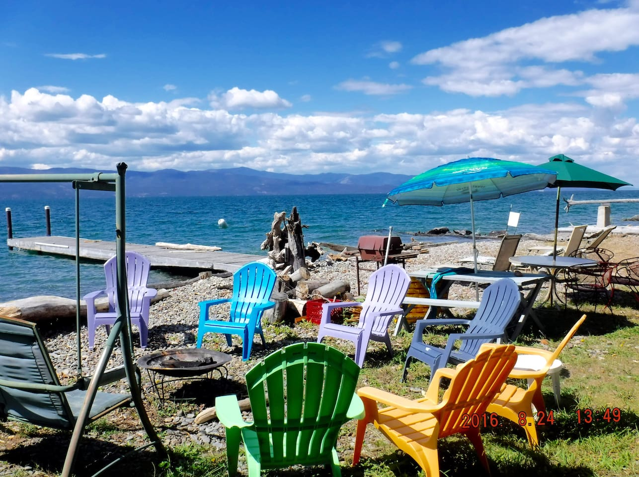 Enjoy Flathead Lake on your own private beach with dock and boat ramp.