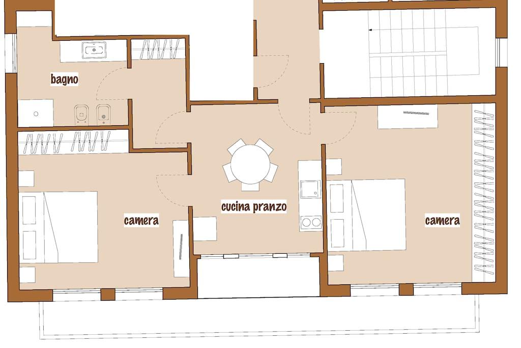 """""""Le giuste stanze"""" trilocale - two-bedroom apartment"""