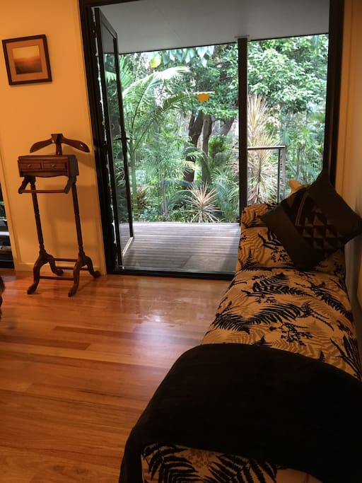 Bedroom One looking out to verandah