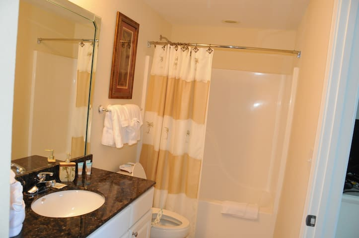 Main Bathroom with Single Sink, Granite Counter Top, Comfort Height Toilet and Ultra Plush Towels