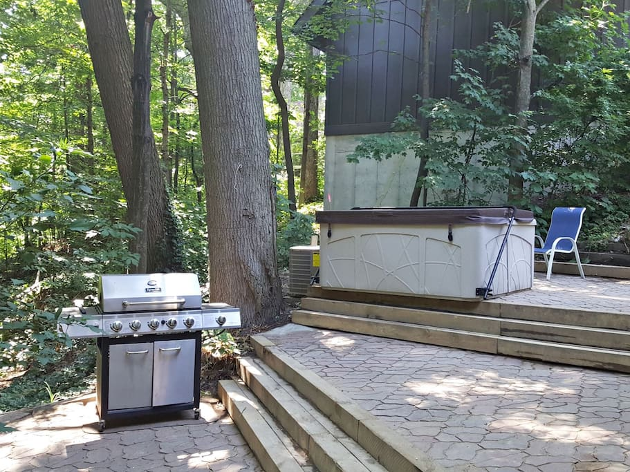 Private hot tub, patio, and BBQ grill
