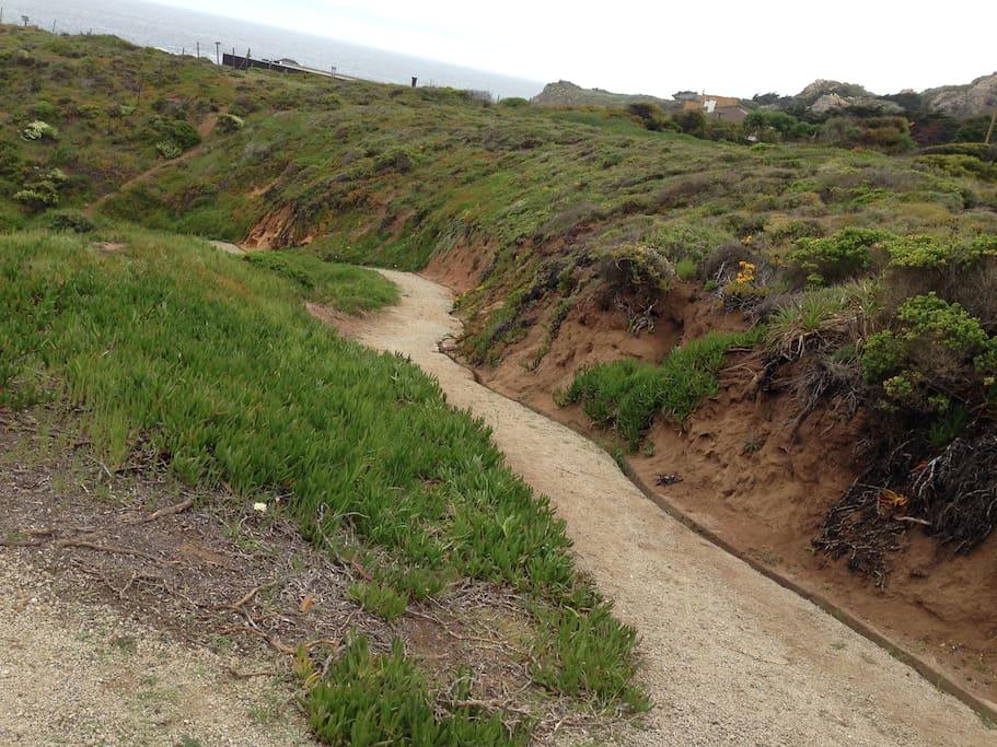 Path to the beach, walk 5-8 minutes bike 2 minutes
