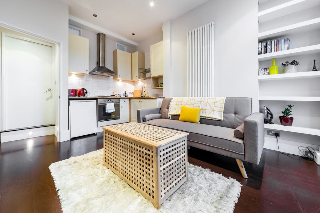 The open-plan design makes the apartment feel spacious