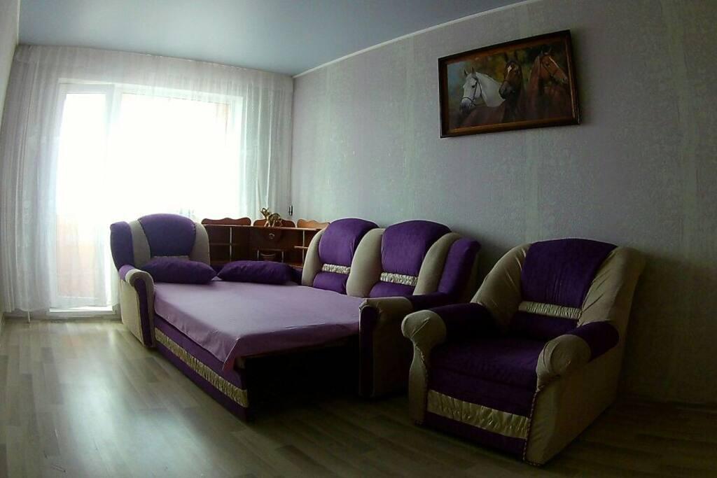 Угловой диван в разложенном виде-два спальных места