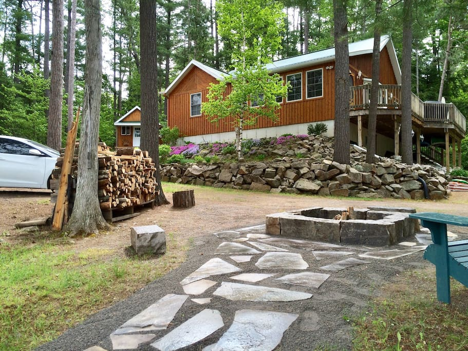 Cottage is located very close to water and includes a custom outdoor fire pit, sandbox, horseshoe pit and secluded tree fort for the kids.