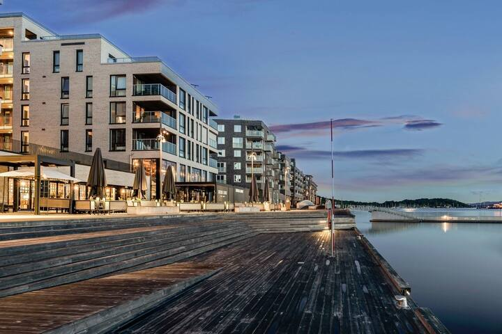 Modern water front apartment with balcony in super popular area in Sørenga, City center