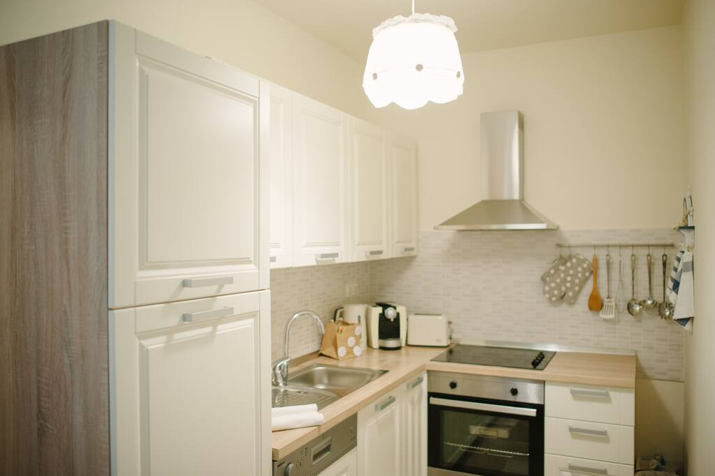 Fully equipped kitchen with 4 glass ceramic hobs, oven, dishwasher, fridge with freezer compartment.