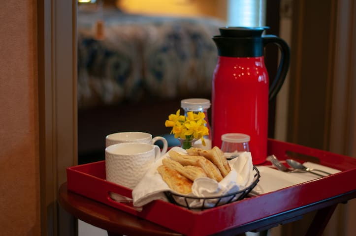 Your day will start with coffee and freshly baked pastries delivered to your bedroom.