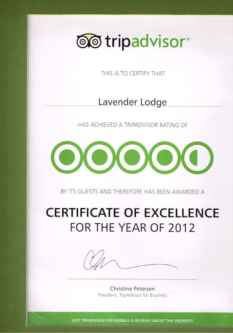 Our achievements on Tripadvisor 2012