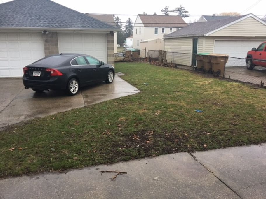 Back yard and your off-street parking.