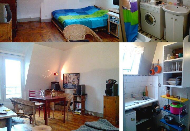 Bright studio, hauts de Belleville