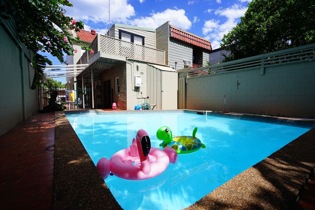 Kids will love to play with the flamingo and tortoise in the swimming pool!