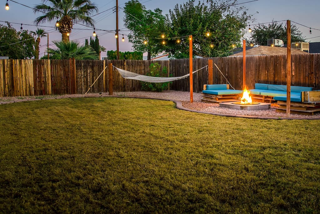 Backyard Entertainment Space - Hammock, Lights, Fire Pit and Seating