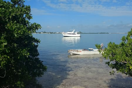 Yacht at Anchor Near Secluded Natural Shoreline - Big Pine Key