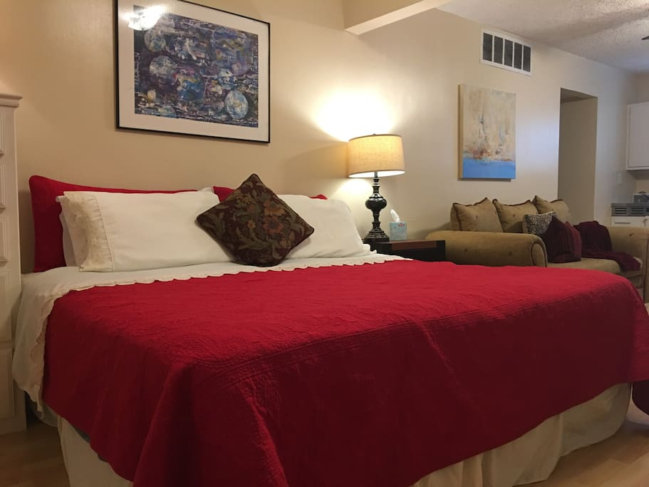 King Size Bed and Large Comfortable Couch